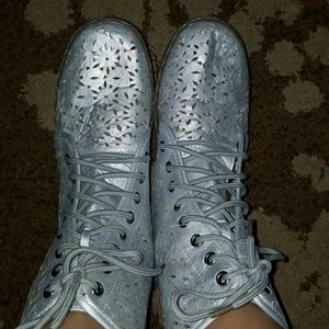 Shoes - Silver Laser Cut Boots